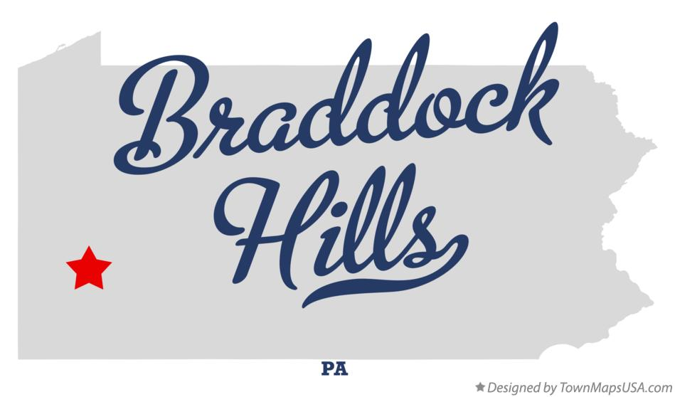 Map of Braddock Hills Pennsylvania PA