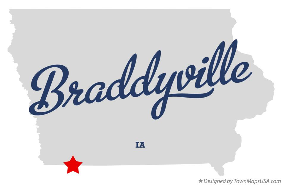 Map of Braddyville Iowa IA