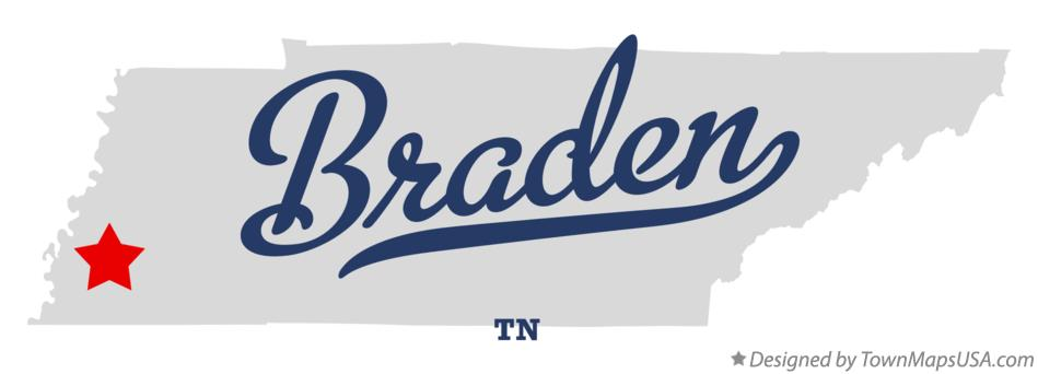 Map of Braden Tennessee TN