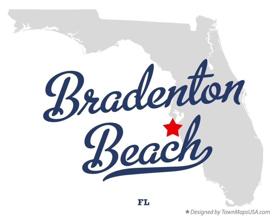 Map of Bradenton Beach Florida FL