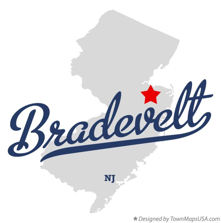 Map of Bradevelt New Jersey NJ