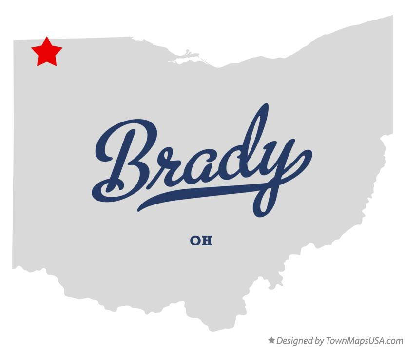 Map of Brady Ohio OH
