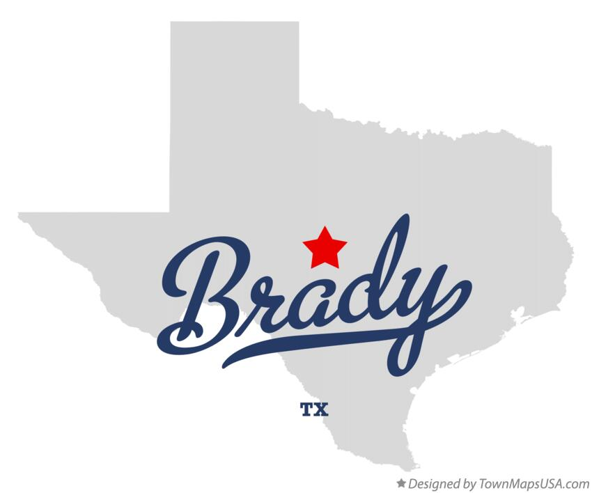 Map of Brady Texas TX