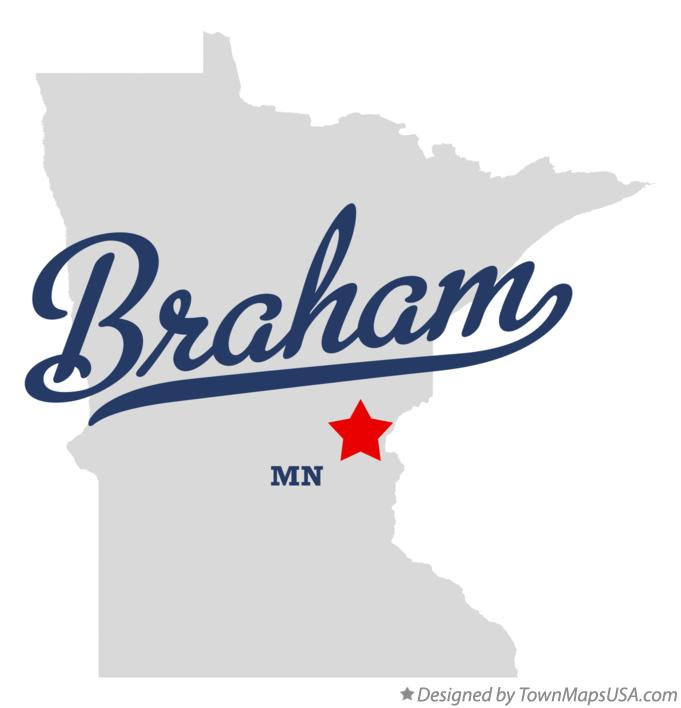 Map of Braham Minnesota MN