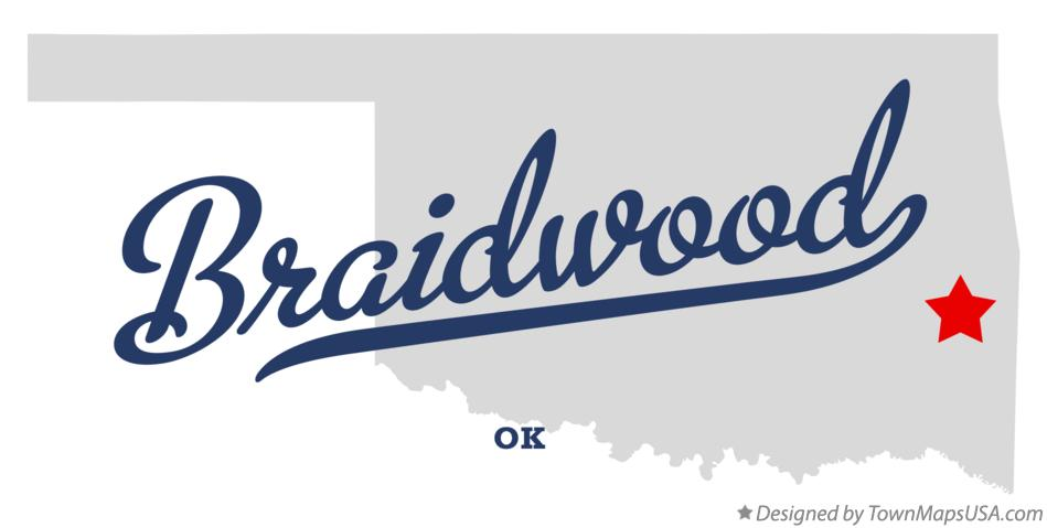 Map of Braidwood Oklahoma OK