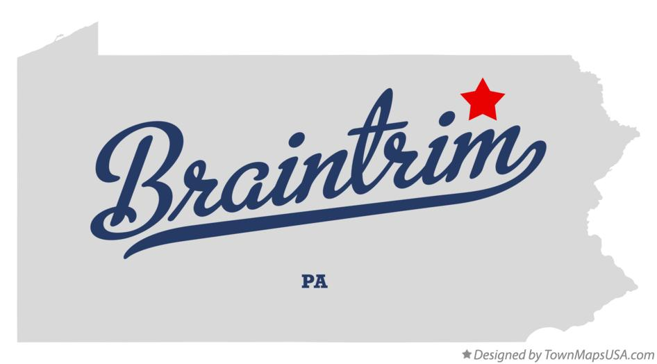 Map of Braintrim Pennsylvania PA