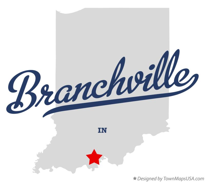 Map of Branchville Indiana IN