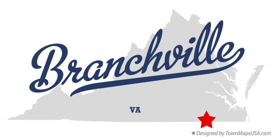 Map of Branchville Virginia VA