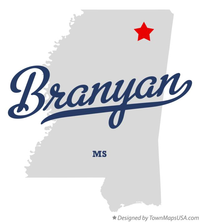 Map of Branyan Mississippi MS
