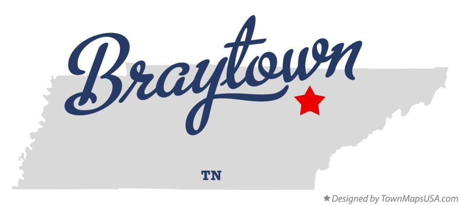 Map of Braytown Tennessee TN