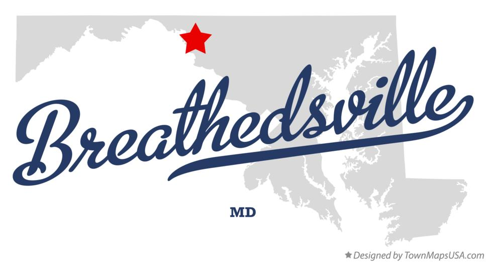 Map of Breathedsville Maryland MD