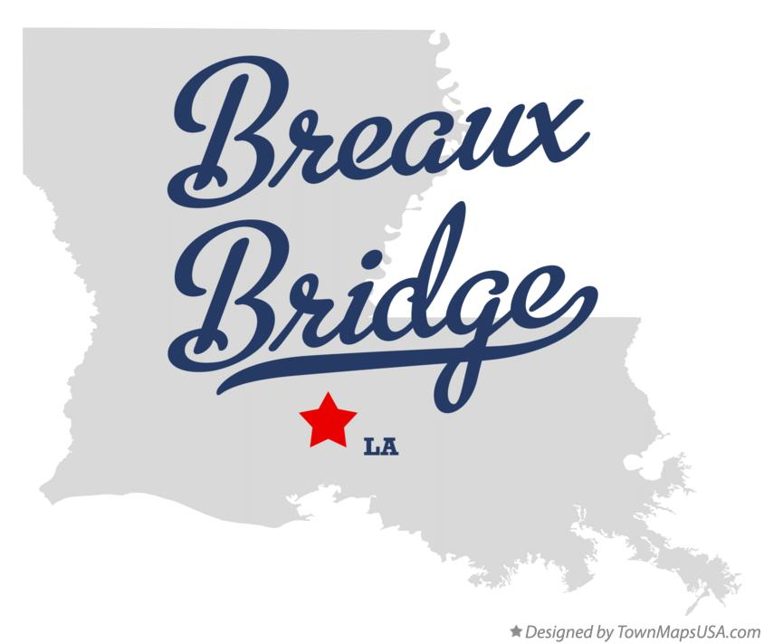 Map of Breaux Bridge Louisiana LA