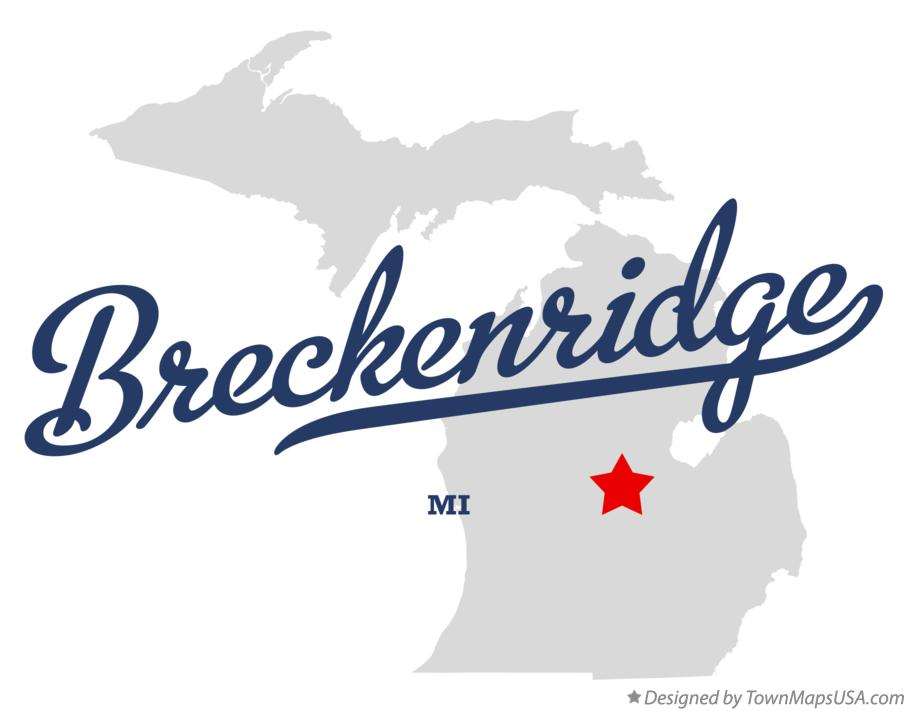 Map of Breckenridge Michigan MI