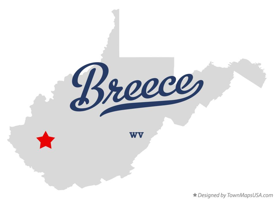 Map of Breece West Virginia WV