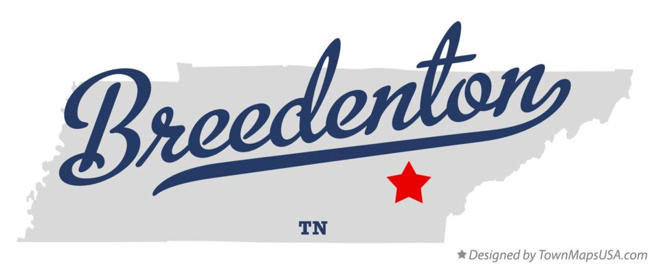 Map of Breedenton Tennessee TN