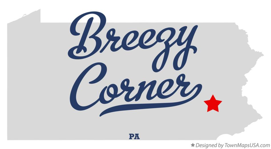 Map of Breezy Corner Pennsylvania PA