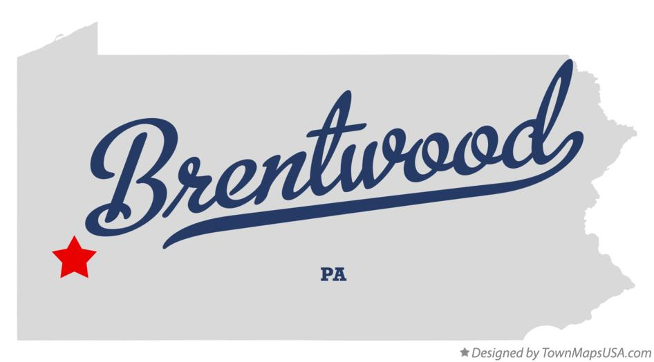 Map of Brentwood Pennsylvania PA
