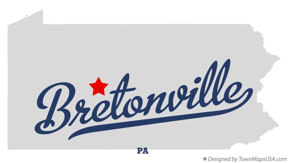 Map of Bretonville Pennsylvania PA