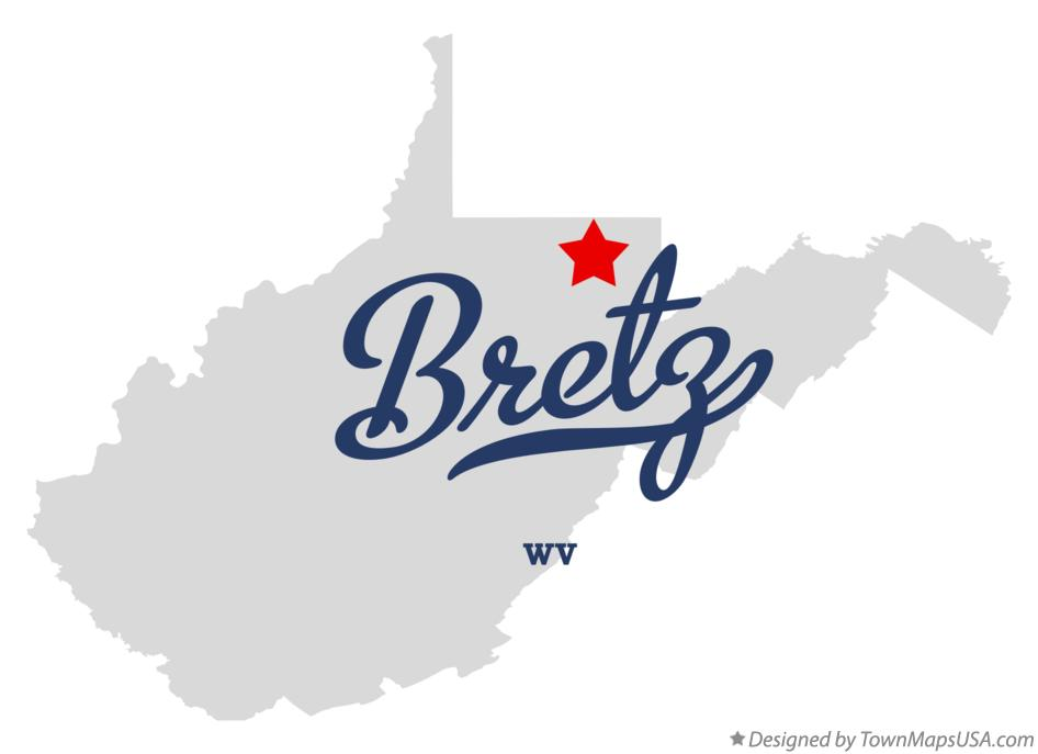 Map of Bretz West Virginia WV