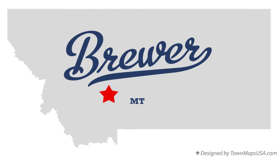 Map of Brewer Montana MT