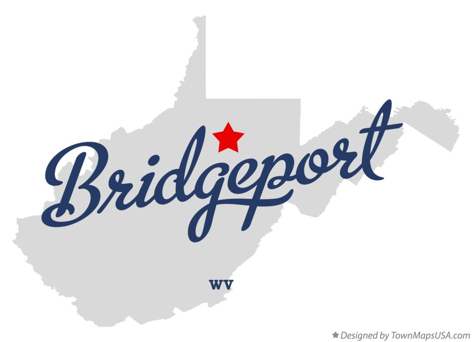 Map of Bridgeport West Virginia WV
