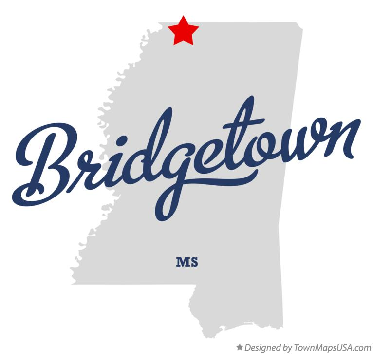 Map of Bridgetown Mississippi MS
