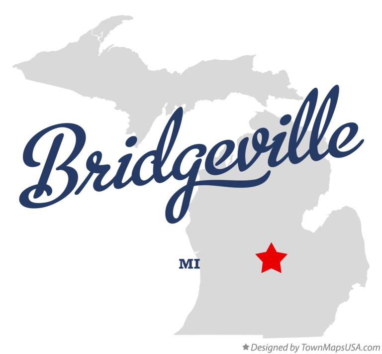 Map of Bridgeville Michigan MI