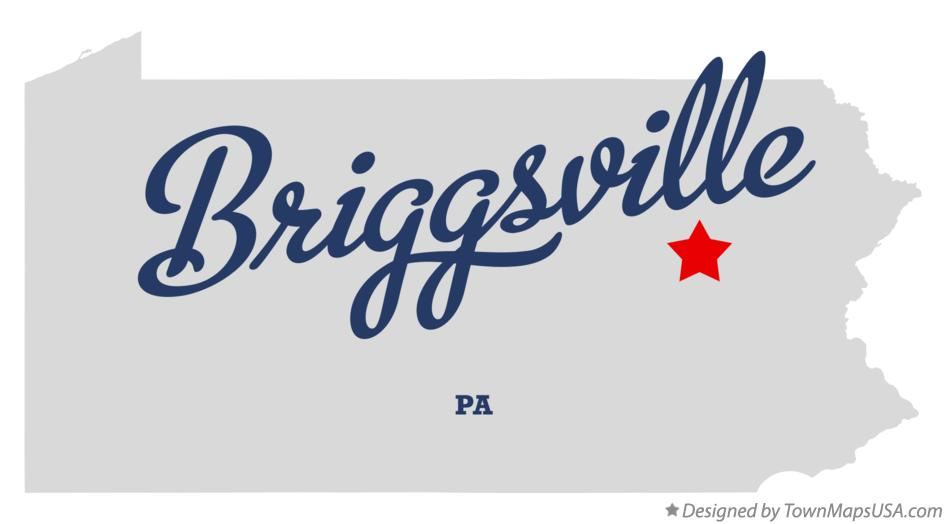 Map of Briggsville Pennsylvania PA