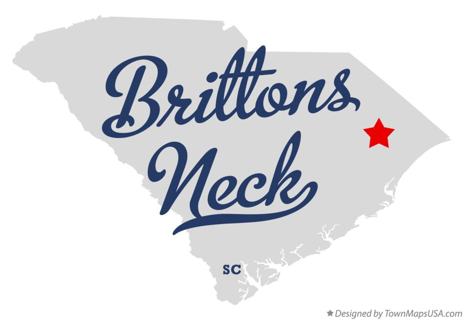 Map of Brittons Neck South Carolina SC