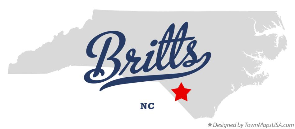 Map of Britts North Carolina NC