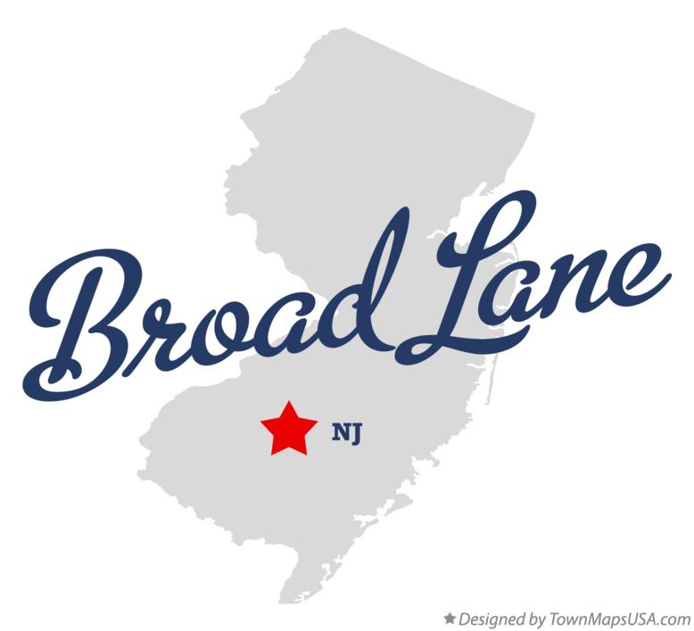 Map of Broad Lane New Jersey NJ