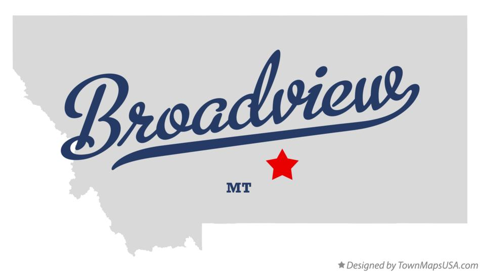 Map of Broadview Montana MT