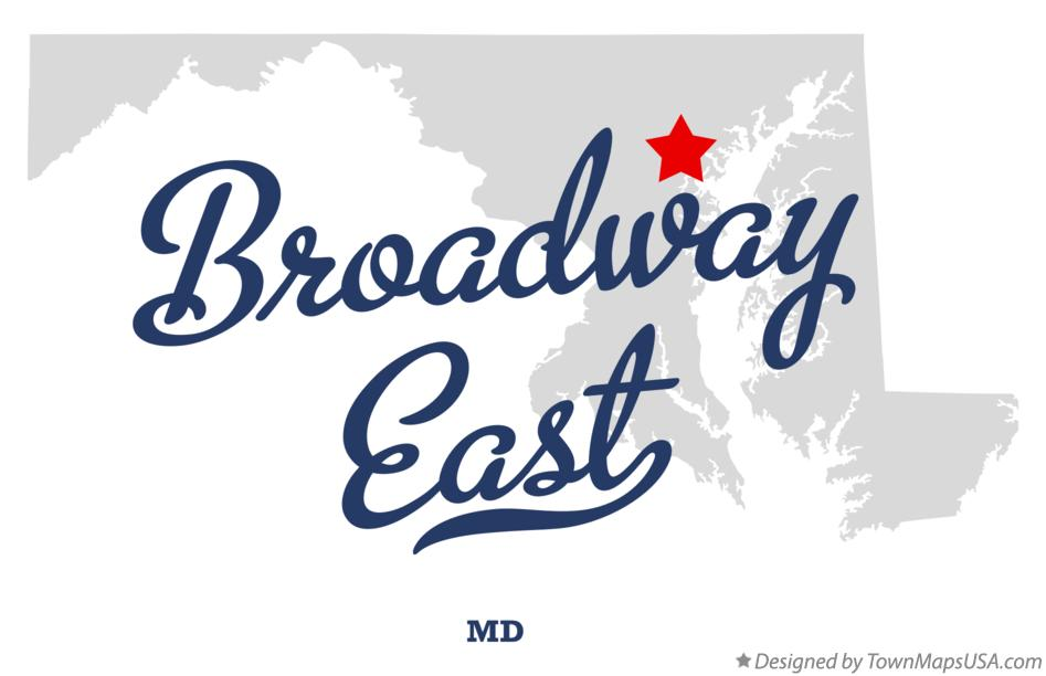 Map of Broadway East Maryland MD