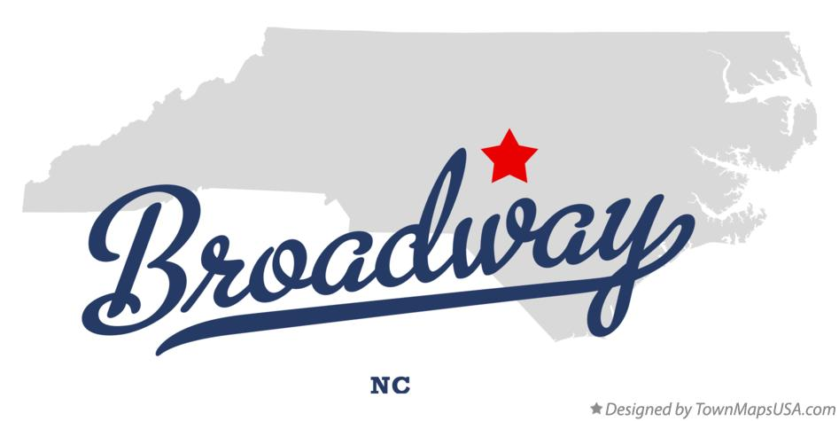 Map of Broadway North Carolina NC