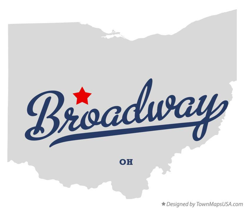 Map of Broadway Ohio OH