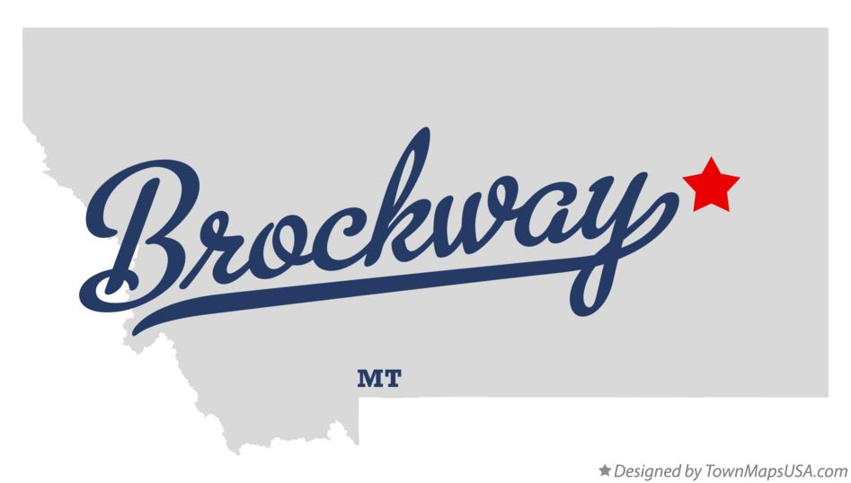 Map of Brockway Montana MT