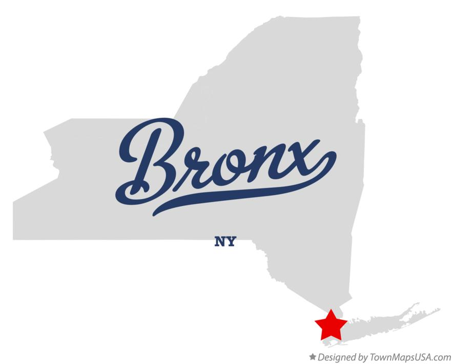 Map of Bronx New York NY