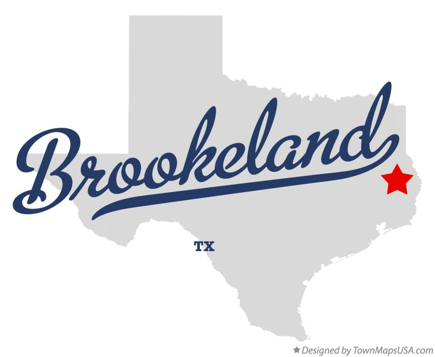 Map of Brookeland Texas TX