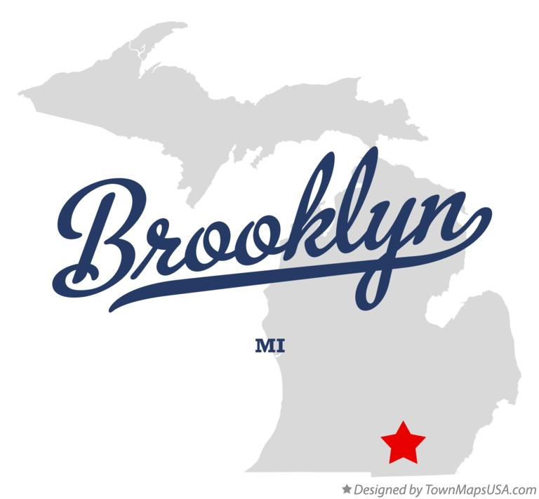 Map of Brooklyn, MI, Michigan