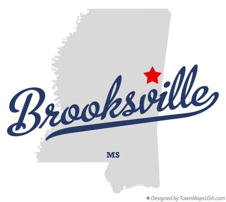 Map of Brooksville Mississippi MS