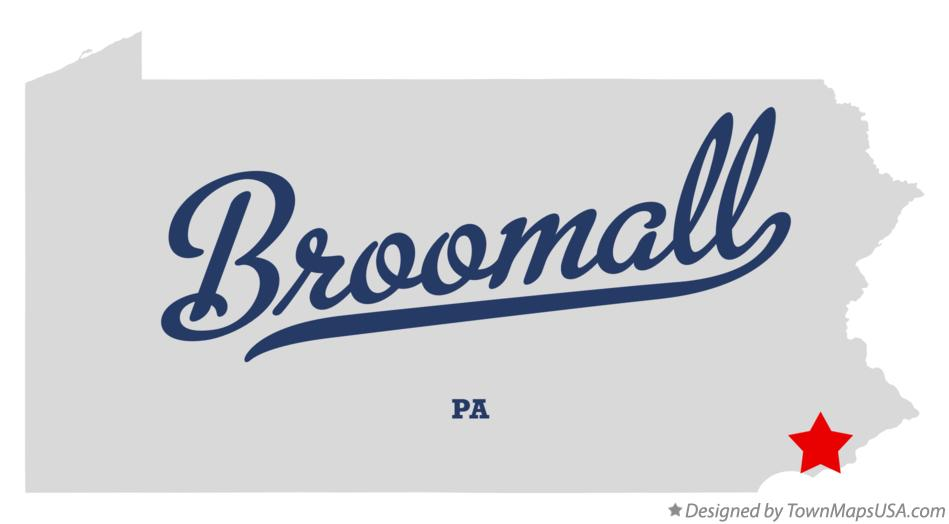 Map of Broomall Pennsylvania PA