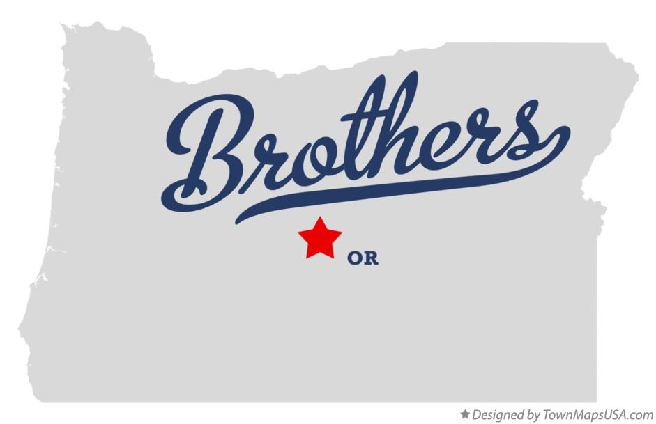 Map of Brothers, OR, Oregon