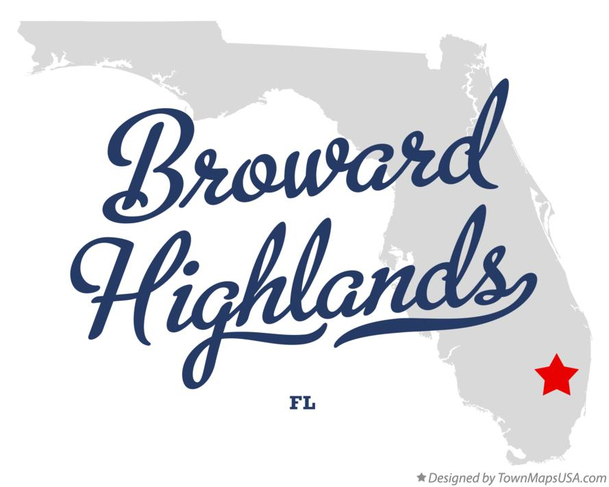 Map of Broward Highlands Florida FL