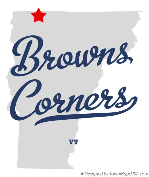 Map of Browns Corners Vermont VT