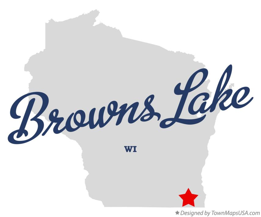 Map of Browns Lake Wisconsin WI
