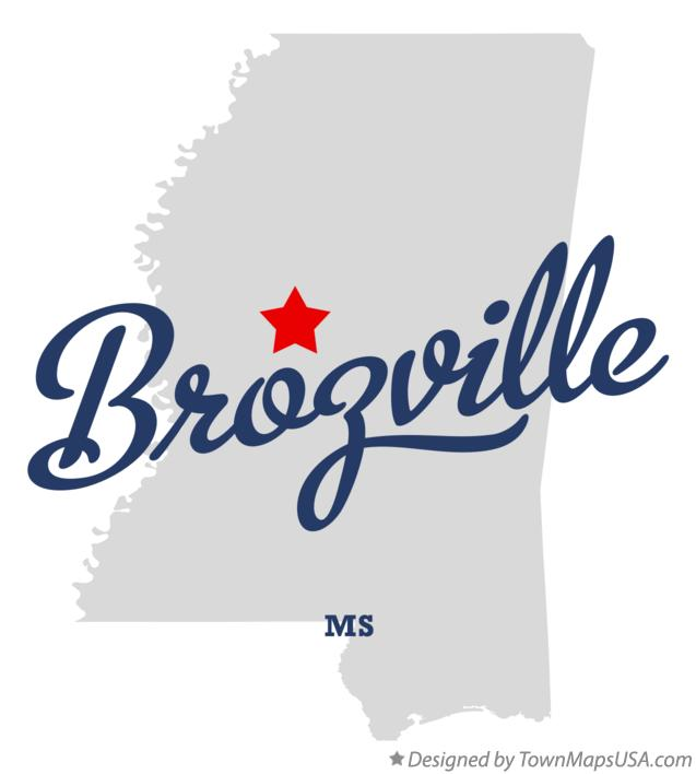 Map of Brozville Mississippi MS