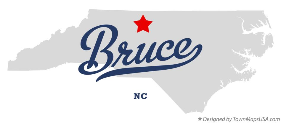 Map of Bruce North Carolina NC