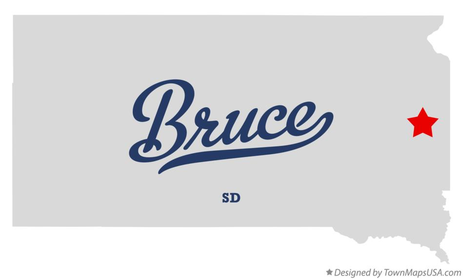 Map of Bruce South Dakota SD