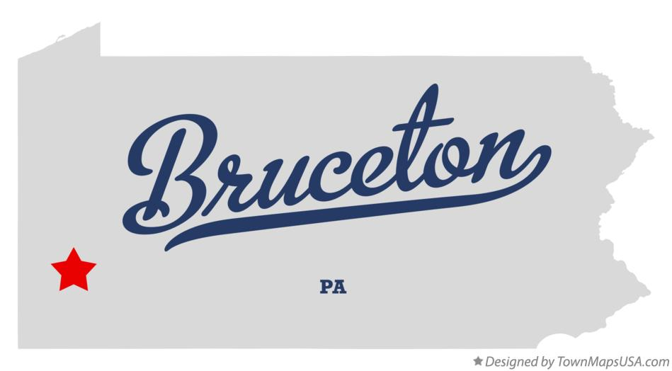 Map of Bruceton Pennsylvania PA
