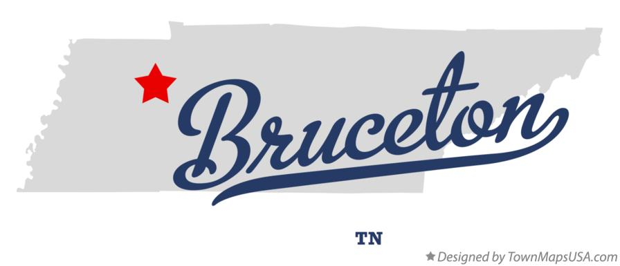 Map of Bruceton Tennessee TN